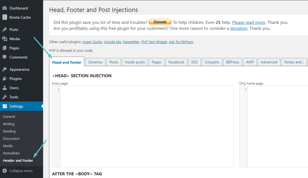 Add footer and header in WordPress