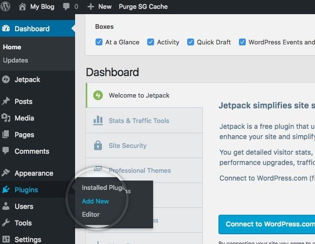 Dashboard of the WordPress
