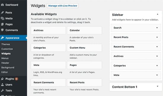 Create Sidebar In WordPress Widgets