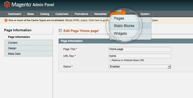 Magento content management system