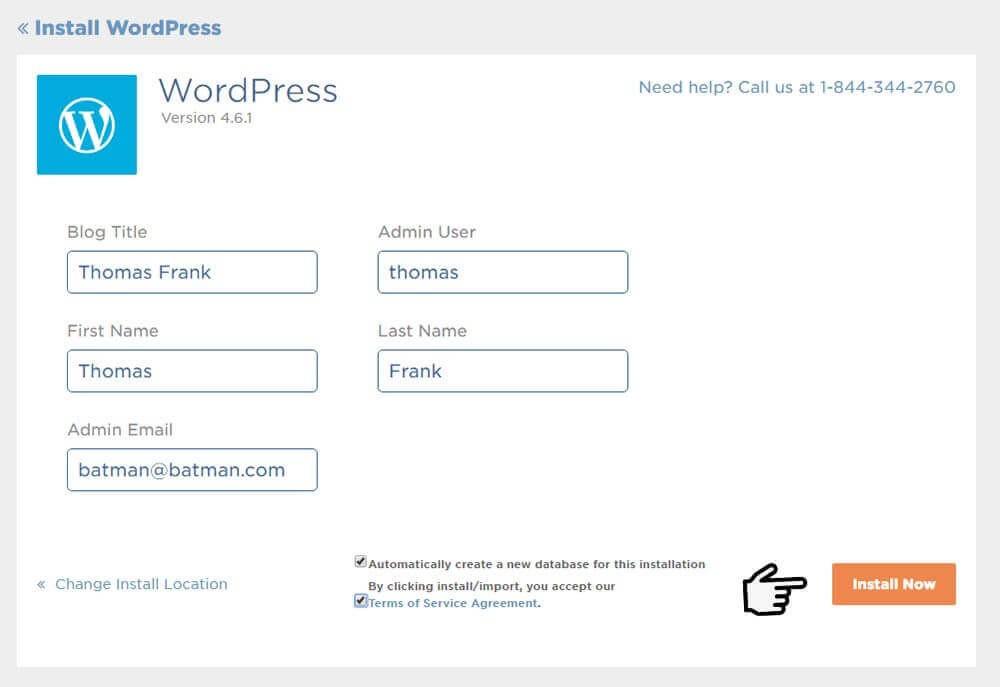 Web hosting sign up