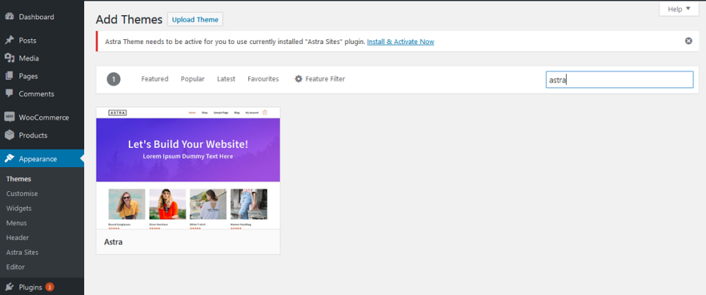 search for astra theme to create ecommerce website